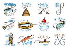 Połowu loga rybołówstwa wektorowy logotyp z rybakiem w łodzi i emblemat z catched ryba na fishingrod ilustraci secie royalty ilustracja