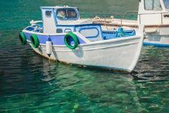 Połowu motorboat unosi się na wyspie Kalymnos Obrazy Royalty Free