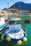 Połowu port z starymi drewnianymi łodziami rybackimi w Sicily, Włochy Obrazy Stock