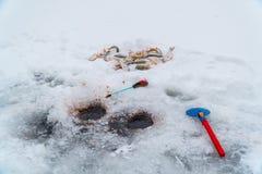 Połowu prącie dla połowu, miarki, dziur i ryby na lodzie zimy, obraz royalty free