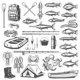 Połowu wyposażenia, sprzętu i ryba ikony, ilustracji
