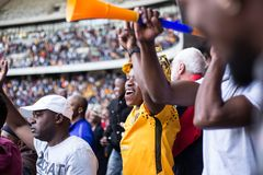 Południe - afrykańscy fan piłki nożnej zdjęcia stock