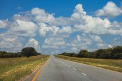 Południe - afrykańska droga przez pustyni z ocechowaniem i sawann Obraz Stock