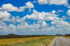 Południe - afrykańska droga przez pustyni z ocechowaniem i sawann Zdjęcie Stock