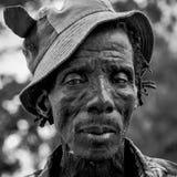 Południe - afrykański facet Czarny I Biały fotografia royalty free