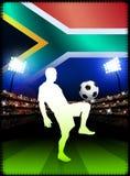 Południe - afrykański gracz piłki nożnej w stadium dopasowaniu Obraz Stock