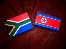 Południe - afrykanin flaga z koreańczyk z korei północnej flaga na drzewnym fiszorku Zdjęcie Royalty Free