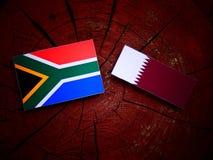Południe - afrykanin flaga z Qatari flaga na drzewnym fiszorku odizolowywającym Zdjęcia Stock