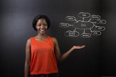Południe - afrykanin lub amerykanin afrykańskiego pochodzenia kobieta uczeń przeciw blackboard SEO diagramowi lub nauczyciel Obrazy Stock