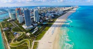 Południe plaża, Miami plaża Floryda widok z lotu ptaka zdjęcie royalty free