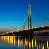 Południe przerzucają most na zmierzchu Kijów, Ukraina Obraz Royalty Free