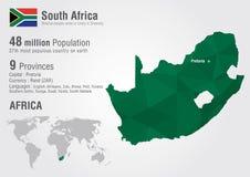 Południowa Afryka światowa mapa z piksla diamentu teksturą Obraz Royalty Free