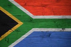 Południowa Afryka flaga państowowa malująca na starym dębowym drewnie Obrazy Stock
