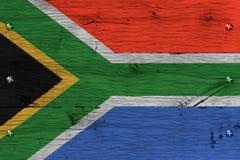 Południowa Afryka flaga państowowa malujący stary dębowy drewno przymocowywający Zdjęcia Royalty Free