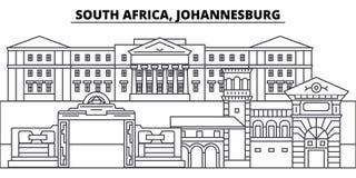 Południowa Afryka, Johannesburg linii linii horyzontu wektoru ilustracja Południowa Afryka, Johannesburg liniowy pejzaż miejski z ilustracji