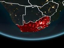 Południowa Afryka na ziemi od przestrzeni przy nocą Fotografia Royalty Free