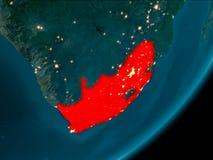 Południowa Afryka od przestrzeni przy nocą Obraz Royalty Free