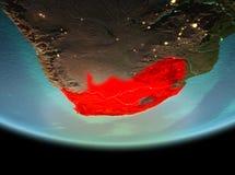 Południowa Afryka przy nocą na ziemi Fotografia Stock