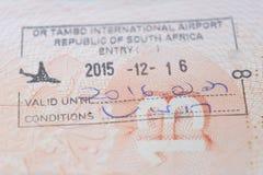 Południowa Afryka wejścia znaczek w podróżnika ` s paszporcie Obraz Stock