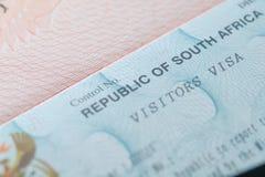 Południowa Afryka wizował w podróżnika ` s paszporcie Obrazy Royalty Free