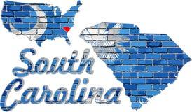 Południowa Karolina na ściana z cegieł Fotografia Royalty Free