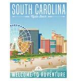Południowa Karolina podróży majcher lub plakat royalty ilustracja