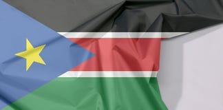 Południowa Sudan tkaniny flaga krepa i zagniecenie z biel przestrzenią obrazy royalty free