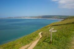 Południowa zachodnie wybrzeże ścieżka plażowy Devon Anglia UK w lecie i Woolacome zdjęcie royalty free