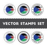 Południowe sudańczyk flaga pieczątki ustawiać Obraz Stock