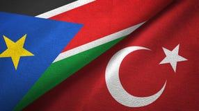 Południowe Sudan i Turcja dwa flagi tekstylny płótno, tkaniny tekstura obrazy stock