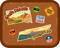 Południowego Dakota, Tennessee podróż majchery z scenicznymi przyciąganiami ilustracji