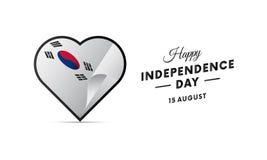 Południowego Korea dzień niepodległości 15 falowania august flaga w sercu wektor Obrazy Stock