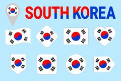 Południowego Korea flaga wektoru set Różni geometryczni kształty Mieszkanie styl Poludniowo-koreański zaznacza kolekcję Może używ ilustracja wektor