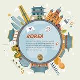 Południowego Korea podróż ilustracja wektor