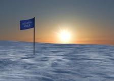 Południowego słupa śnieg i lód, flaga Zdjęcie Royalty Free