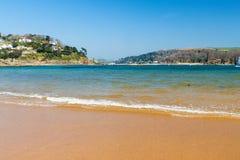 Południowi piaski Plażowy Salcombe Obrazy Royalty Free