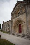 Południowy fasadowy widok Aulnay De Saintonge kościół Fotografia Stock