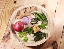 Południowy indyjski masala imbir, liście, zieleni chłodni, cebula i kolendery, obrazy stock
