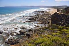 Południowy oceanu wybrzeże w Aireys wpuscie Zdjęcia Stock