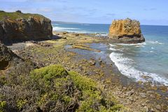 Południowy oceanu wybrzeże w Aireys wpuscie Obraz Stock