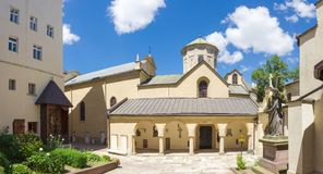 Południowy podwórze Armeńska katedra w Lviv, Ukraina Obraz Stock