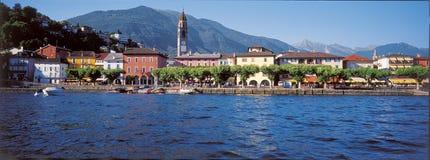 Południowy Szwajcaria: Ascona miasto przy Jeziornym Maggiore w Ticino zdjęcie royalty free