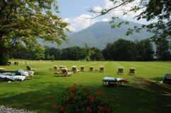 Południowy Szwajcaria: Intymny park luksusowy hotel Castello Del Zelujący zdjęcia royalty free