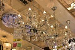 Połysk i lampy eksponujący w sklepie dla sprzedaży Zdjęcia Royalty Free
