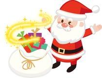 Połyskujący Santa Tylnego i Mrugać Święty Mikołaj Bożenarodzeniowy prezent Płaski projekt, Wektorowa ilustracja, Śliczna postać z royalty ilustracja