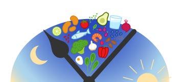 Poścący, ograniczający łasowanie, Ramadan Zdrowi foods między zegarowymi rękami, wschód słońca, świt, półmrok, dzienny łasowania  royalty ilustracja