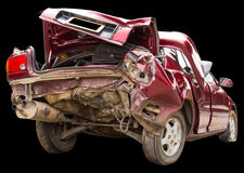 Pośladek czerwieni wypadek samochodowy fotografia stock