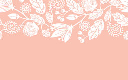 Poślubiać kwiatów i liści horyzontalny bezszwowego ilustracja wektor