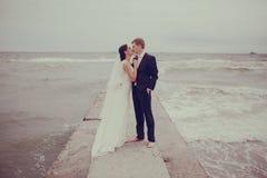 Poślubiać przy morzem Zdjęcia Royalty Free