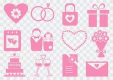 Poślubiać ustalone, różowe sylwetki, również zwrócić corel ilustracji wektora ilustracji